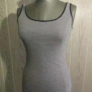 Divided black/white striped tank top
